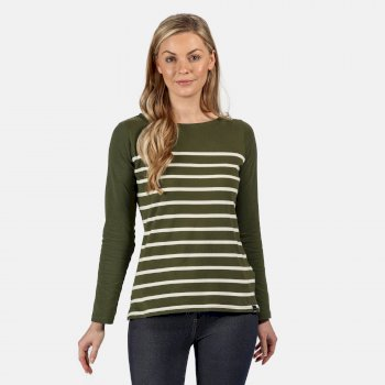Women's Ferelith Striped Long Sleeved T-Shirt Dark Khaki