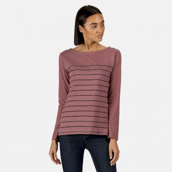 RWT211_N1W: Kimberley Walsh Ferelith Striped Long Sleeved T-Shirt Dusky Heather