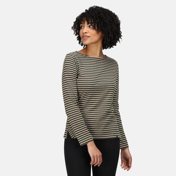 Women's Fernanda Striped T-Shirt Dark Khaki Light Vanilla