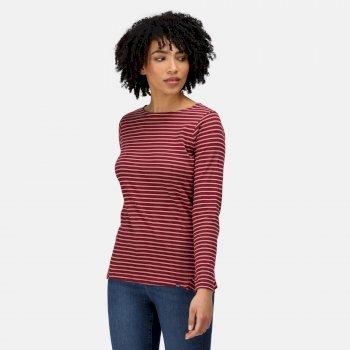 Women's Fernanda Striped T-Shirt Claret Dusty Rose