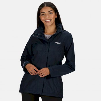 Women's Daysha Lightweight Waterproof Walking Jacket with Concealed Hood Navy