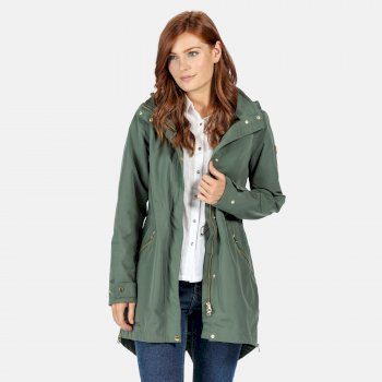 Women's Alerie Long Length Waterproof Festival Jacket Thyme Leaf