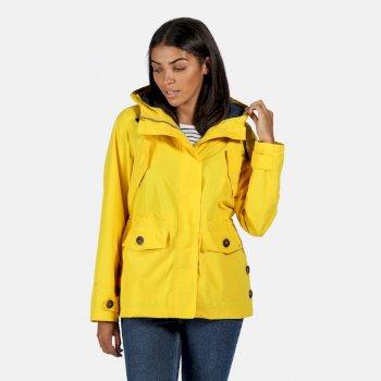 Women's Ninette Lightweight Hooded Waterproof Jacket Yellow Sulphur