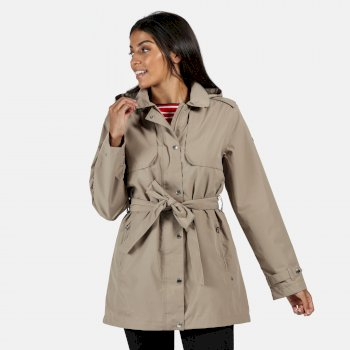 Women's Garbo Long Length Waterproof Jacket Nutmeg Cream