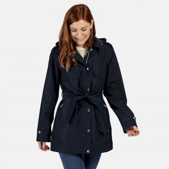 Women's Garbo Long Length Waterproof Jacket Navy