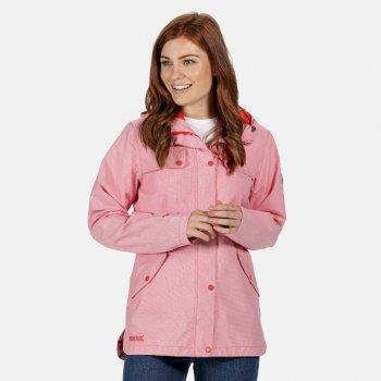 Women's Bertille Lightweight Hooded Waterproof Jacket Red Sky Houndstooth Pink