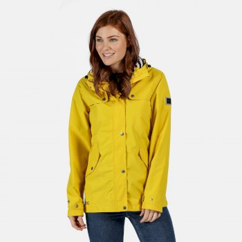 Women's Bertille Lightweight Hooded Waterproof Jacket Yellow Sulphur