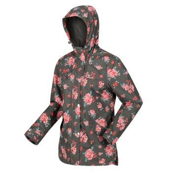 Women's Bertille Lightweight Hooded Waterproof Jacket Grape Leaf Floral