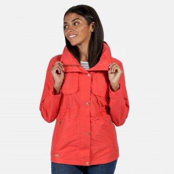 Women's Narelle Lightweight Waterproof Funnel Neck Jacket Red Sky