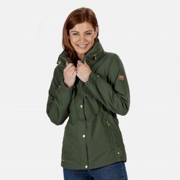 Women's Narelle Lightweight Waterproof Funnel Neck Jacket Thyme Leaf