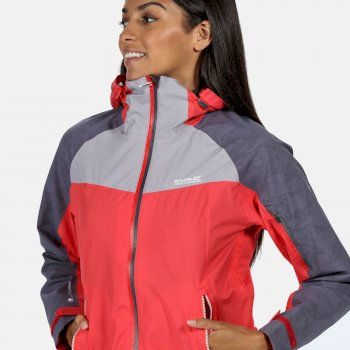 Women's Oklahoma V Reflective Waterproof Walking Jacket Red Sky Dapple