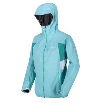 Damska kurtka przeciwdeszczowa z kapturem Imber IV niebiesko-turkusowa