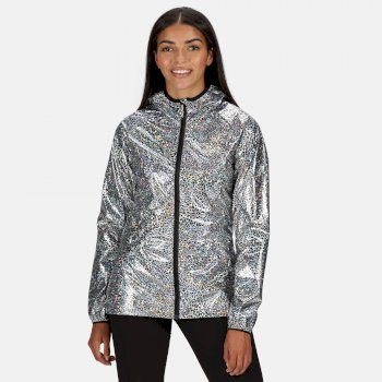 Women's Turla Lightweight Waterproof Hooded Walking Jacket Holographic Animal Print