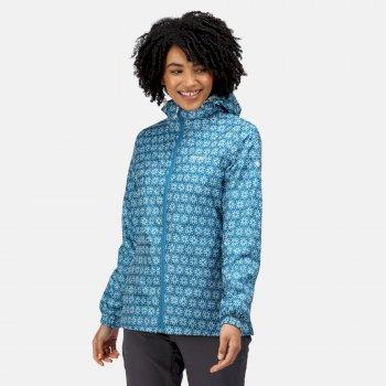 Women's Printed Pack-It Waterproof Jacket Blue Sapphire Print
