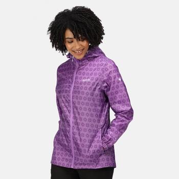 Damska kurtka przeciwdeszczowa Printed Pack It fioletowa