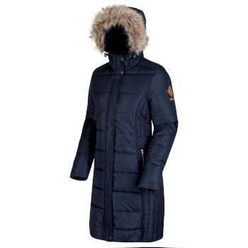 Fearne III Long Length Quilted Puffer Parka Jacket Navy