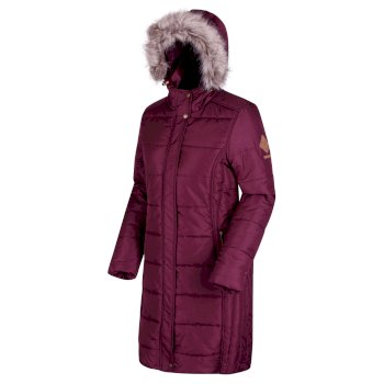 Fearne III Long Length Quilted Puffer Parka Jacket Fig Red