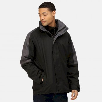 Men's Defender III Waterproof 3 In 1 Jacket Black Seal Grey