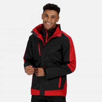 Men's Contrast 3 in 1 Jacket Black Classic Red