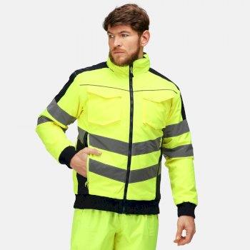 Men's Hi-Vis Waterproof Insulated Reflective Work Bomber Jacket Yellow Navy