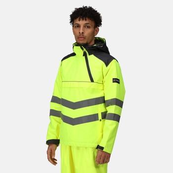Men's Hi-Vis Waterproof Reflective Overhead Bomber Jacket Yellow Grey