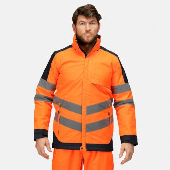Men's Hi-Vis Waterproof Insulated Reflective Hooded Work Jacket Orange Navy
