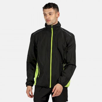 Men's Athens Tracksuit Jacket Black Lime Zest