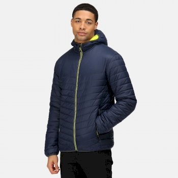 Men's Acadia II Warmloft Down Touch Insulated Hooded Jacket Navy Neon Spring