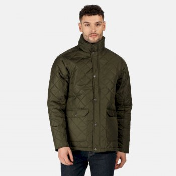 Men's Diamond Insulated Quilted Jacket Dark Khaki
