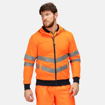 Men's Hi Vis Pro Full Zip Hoodie Orange Navy