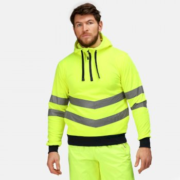 Men's Hi Vis Pro Overhead Reflective Hoodie Yellow Navy