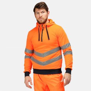 Men's Hi Vis Pro Overhead Reflective Hoodie Orange Navy