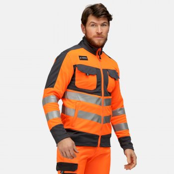 Men's Tactical Hi Vis Full Zip Stretch Jacket Orange Grey
