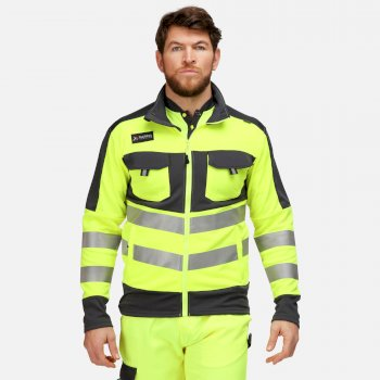 Men's Tactical Hi Vis Full Zip Stretch Jacket Yellow Grey