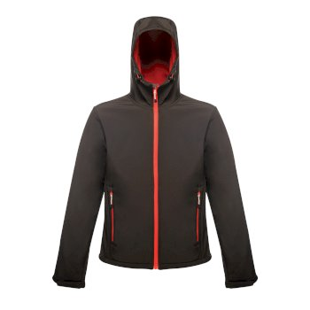 Men's Arley II Printable Hooded Softshell Jacket Black Classic Red