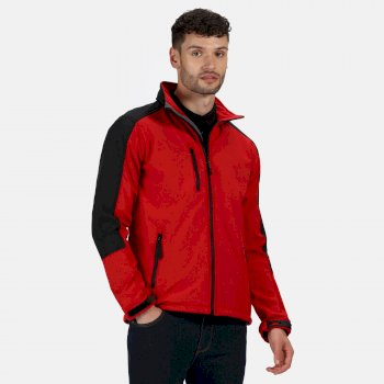 Men's Hydroforce 3 Layer Membrane Hooded Softshell Jacket Classic Red Black