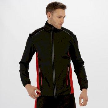 Men's Sochi Reflective Softshell Jacket Black Classic Red