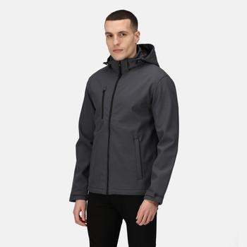 Men's Venturer 3 Layer Printable Hooded Softshell Jacket Seal Grey Black
