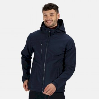 Men's Venturer 3 Layer Printable Hooded Softshell Jacket Navy