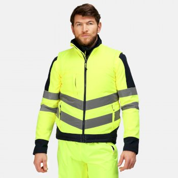 Men's Hi-Vis Pro Insulated Reflective Bodywarmer Yellow Navy