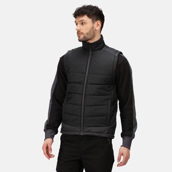 Men's Contrast Insulated Body Warmer Black Seal Grey