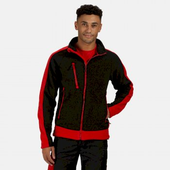 Men's Contrast Heavyweight Full Zip Fleece Black Classic Red