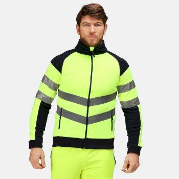 Men's Hi Vis Pro Full Zip Work Fleece Yellow Navy