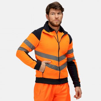 Men's Hi Vis Pro Full Zip Work Fleece Orange Navy