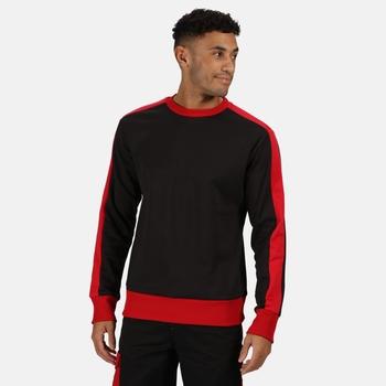 Men's Contrast Crew Neck Sweater Black Classic Red