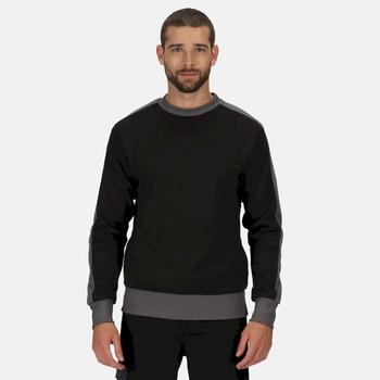 Men's Contrast Crew Neck Sweater Black Seal Grey