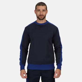 Men's Contrast Crew Neck Sweater Navy New Royal Blue