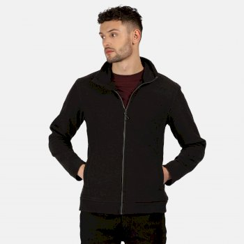 Men's Parkline Full Zip Mini Stripe Fleece Black