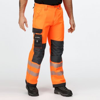Men's Tactical Hi Vis Hardwearing Reflective Trousers Orange Grey