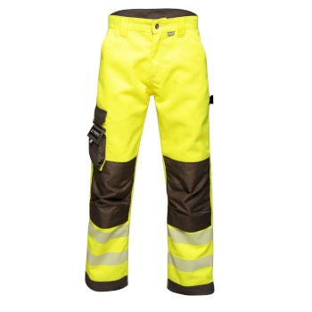 Men's Tactical Hi Vis Hardwearing Reflective Trousers Yellow Grey